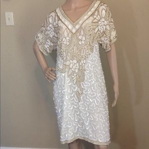 Laurence Kazar Sequined and Beaded Silk Dress